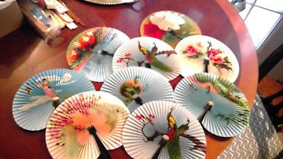 Vintage Ladies Japanese Hand Fans, LOT of 9