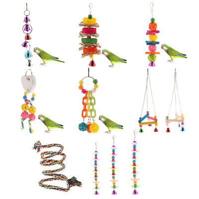 Colorful Parrot Swing Bird Toy Stand Perch Rope Cage Toys Parakeet Cockatiel NEW