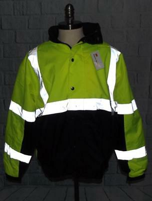 NWT XL Reflective Safety VEA Bomber Jacket Lined Waterproof ANSI/ISEA Class 3