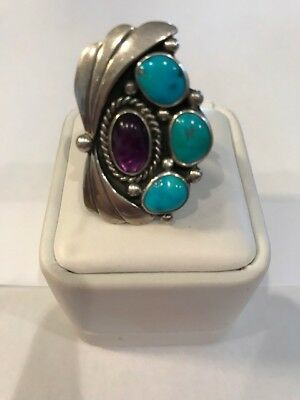 Large Navajo Native American Made Sterling Bear Paw Turquoise Ring Size 8