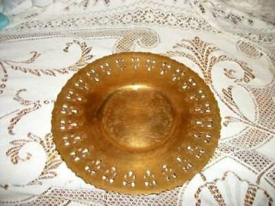 ANTIQUE 1920s CHIC PIERCED BRASS ETCHED PLATE SHABBY Unm ART DECO ERA
