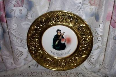 Mcm Hollywood Regency Chic English Brass Porcelain Plate Shabby Sairey Gamp