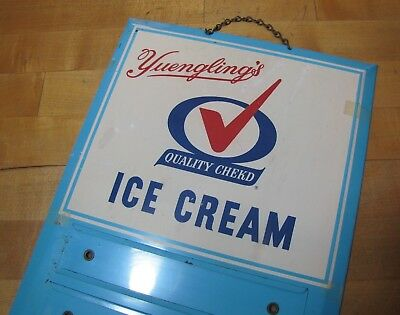 Orig Old YUEGLING'S ICE CREAM Sign bevel edge tin metal Permanent Co Reading Pa