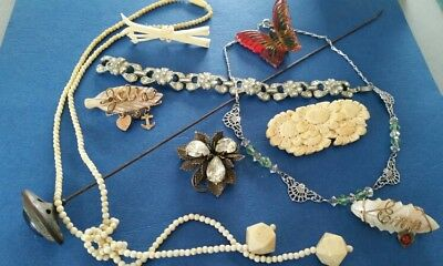 Lot Of Victorian Deco Antique Jewelry 10 Pieces