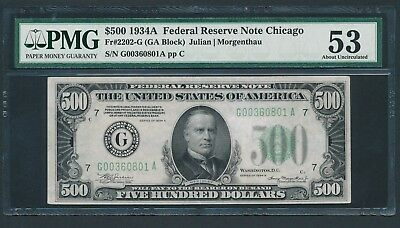 1934A $500 Five Hundred Dollar Bill Currency Cash Note Money PMG AU 53