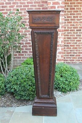Antique French Oak Tapered Pedestal Bronze Display Column Plant Stand Newel 56""