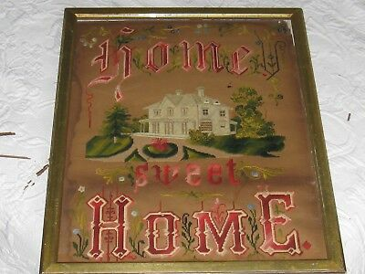 Antique  PAPER PUNCH SAMPLER~VICTORIAN HOUSE~Home Sweet Home, w/ Frame