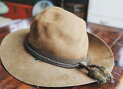 Vintage John B. Stetson (Philly) WW l Calvary Hat with Braided Campaign Hat Cord