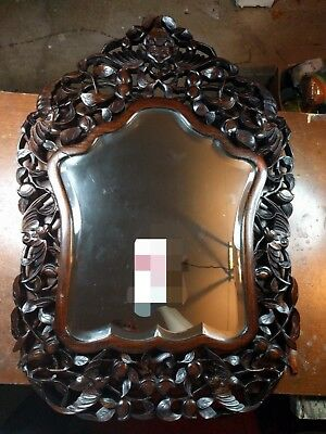 Chinese ornate hand carved antique wooden frame mirror