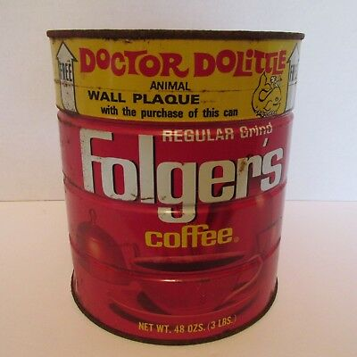 VINTAGE FOLGER'S COFFEE CAN TIN--DOCTOR DOLITTLE WALL PLAQUE- 3lb unique