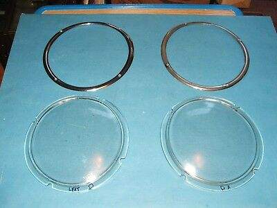 "1963 Studebaker Avanti Headlight ""Glass"" Covers and Rims Original OEM LOOK"