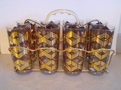 Set of 8 Culver Ltd. Tall Highball Glasses with Carrier Caddy ~ 22K Gold Vintage