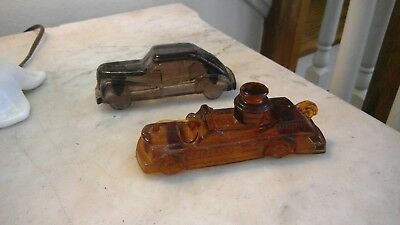 Victory AMBER, PURPLE Glass Candy Container Race Car, Fire Engine  LOT 2
