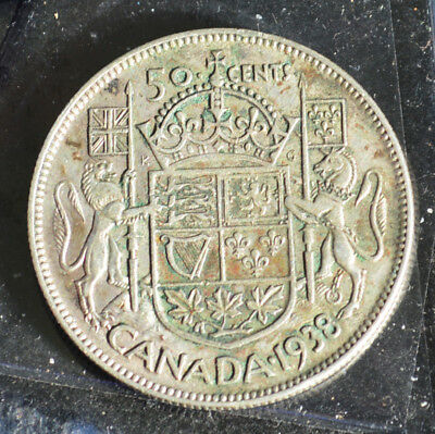 1938 Canada Silver 50 Cents Half Dollar- toned {#34}