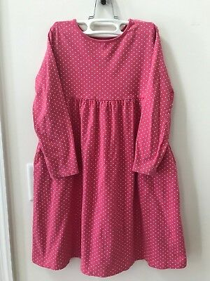 CUTE & COMFORTABLE!  Lands' End girls size 7 pink white polka dot dress pockets