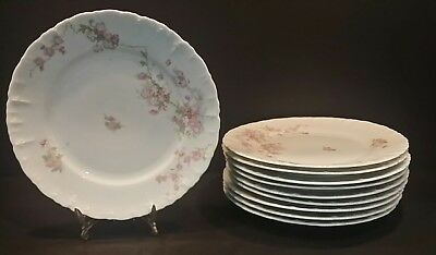 "Set 10 Antique MABEIN Habsburg China Plate  7.75"" Pink Flowers Blossoms Austria"
