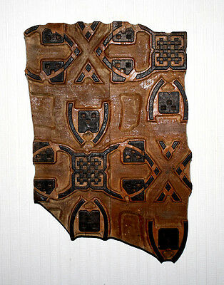 """Frame antique FRENCH Woodblock Architectural ART Wallpaper Press, """"SHIELDS"""", COA"""