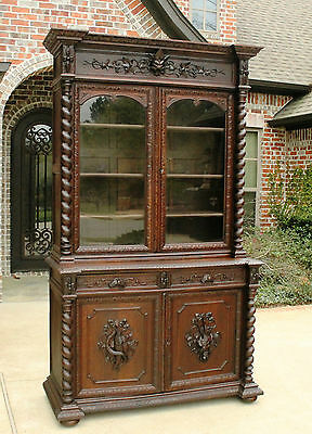 Antique French Oak BARLEY TWIST Black Forest Harvest HUNT Cabinet Bookcase