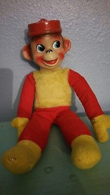 Vintage Rare 1965 AD Sutton & Sons Monkey Doll Stuffed Animal with Plastic Head