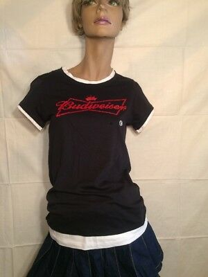 Ladies Budweiser T-shirt Size Large NWT Black White Red Letters embroidered