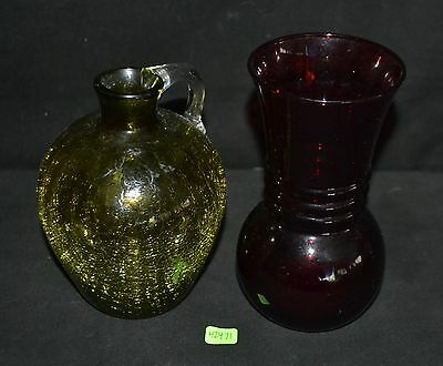 ThriftCHI ~ Amber Crackle Glass Pitcher & Red Ruby Glass Vase