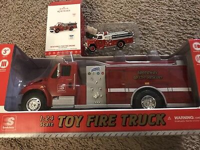 2017 Speedway Toy Fire Truck - 1:24 Scale And 2017 Hallmark Ornament Mint