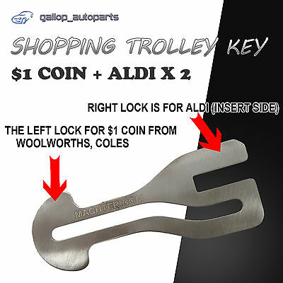 $1 COIN SLOT Shopping Trolley Key ALDI WOOLWORTHS COLES KEY Chains Stainless