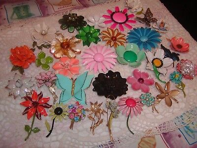 Group Lot of 34 Vintage Flower and Butterfly Pins Brooches Some Marked