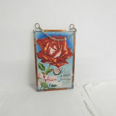 Vintage 1910 Happy Birthday Postcard Encased In Glass and Copper Frame & Chain