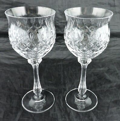 Vintage  Cut Glass Or Crystal Wine Hock Pair Quilted/fan Pattern Stemware