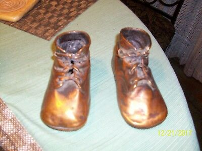 13#A   Pair of Vintage Solid Copper Dipped/Plated Leather Baby Shoes Great Cond