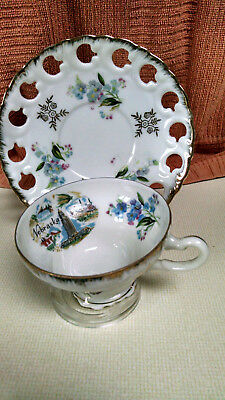Vintage Lefton china tea cup and saucer hand painted 20335 ( tc-6 )