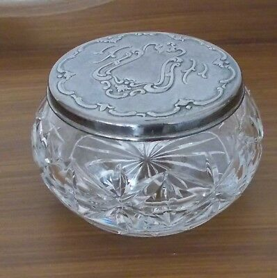 Beautiful Lead Crystal Trinket Powder Dresser Dish w/ Silver Plated Lid