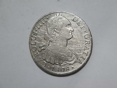 Mexico 1808 8 Reales Colonial Carolus Iiii Silver Damaged Coin Collection Lot