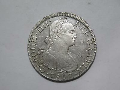 Mexico 1807 8 Reales Colonial Carolus Iiii Silver Damaged Coin Collection Lot