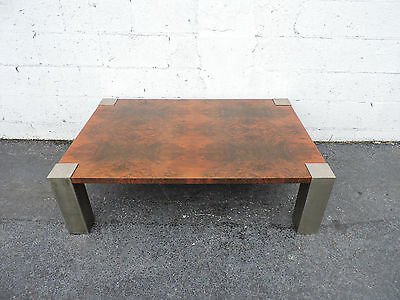 Vintage Mid Century Burl Wood Coffee Table with Distressed Metal Legs 7908