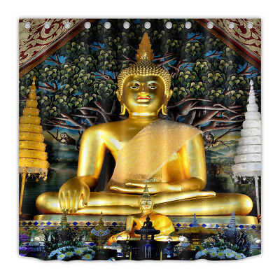 Thai Golden Giant Buddha Shower Curtain Liner Bathroom Polyester Fabric Hooks