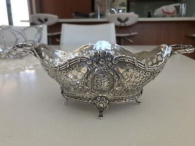 One antique Scottish sterling silver art nouveau bon bon dish 397grams - 1938