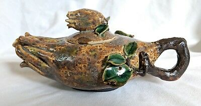 Vintage Buddha's Hand Art Pottery Teapot Chinese or Japanese Signed