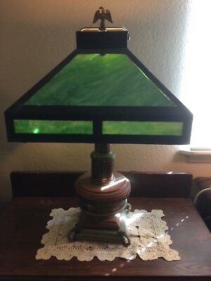 Awesome Large Antique Mission Style Green Slag Glass Table Mid Century Lamp NICE