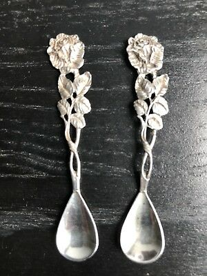 Antique silver Salt Spoons 835 Silver Hildesheim Rose Cake cutlery