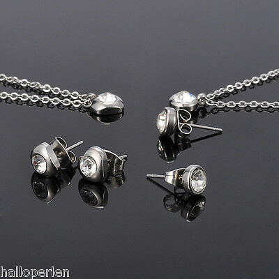 Womens Fashion 304 Stainless Steel White Cubic Zirconia Necklace Earrings Set