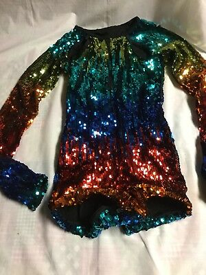 Girls Weissman Dance Tap Jazz Pageant Costume Size LC Sequins Sparkle
