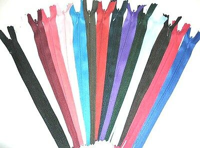 Black NZ322, 6 Inch Pack of 10 Concealed No.3 Invisible Nylon ZIPS *19 Colours Closed END Zip Sewing Repairs*Buy 2 Packs GET 1 Pack Free* 8 Sizes