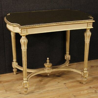 Table living room lacquered furniture small italian wood golden antique style