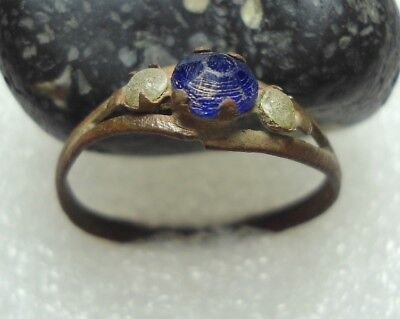 Ancient Roman Bronze with Blue stone ring Original Authentic Antique Rare