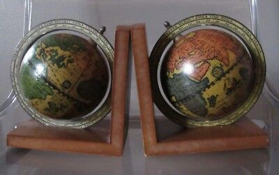 Pair of Vintage Italian World Globe Bookends