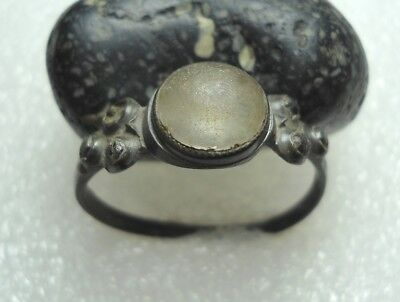 Ancient Roman Bronze with stone ring Original Authentic Antique Rare