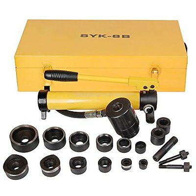 10 Ton Hydraulic Knockout Punch Hole Driver Kit Complete Tool Set With 6 Dies