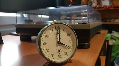 Vintage Peter wind up repeat alarm clock German retro Lime Green Luminous hands